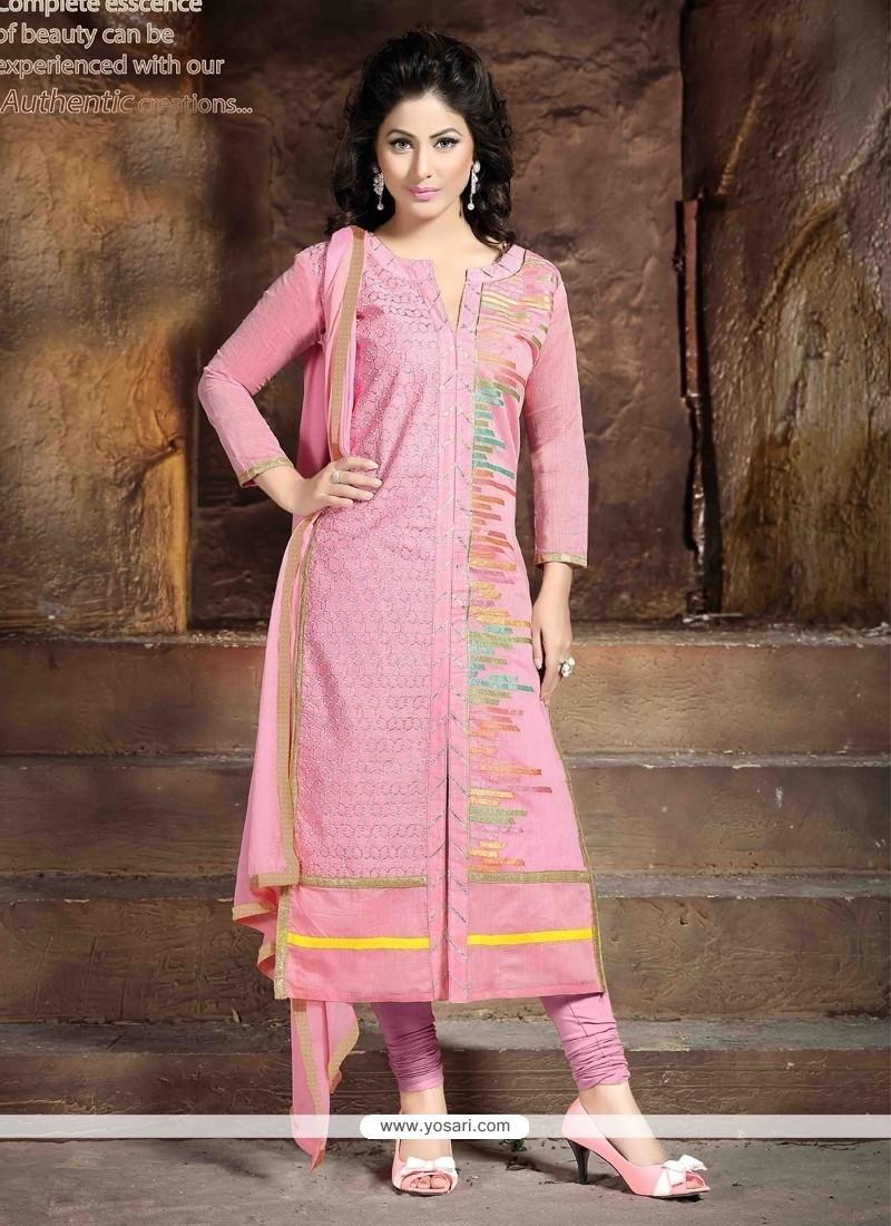 Shop Online Hina Khan Pink Resham Work Churidar Salwar Suit