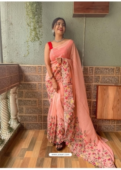 Light Orange Heavy Premium Georgette Sequins With Embroidery Sari