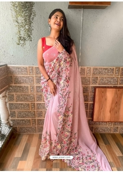 Baby Pink Heavy Premium Georgette Sequins With Embroidery Sari