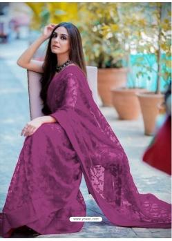 Purple Traditional Premium Super Net Heavy Designer Sari