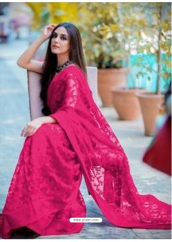 Fuchsia Traditional Premium Super Net Heavy Designer Sari