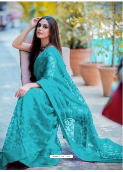 Turquoise Traditional Premium Super Net Heavy Designer Sari