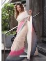 Off White Casual Trendy Manipuri Silk Sari