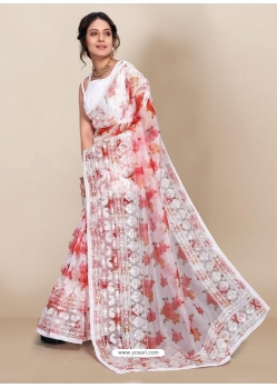 White Premium Organza With Digital Printed And Embroidered Sari