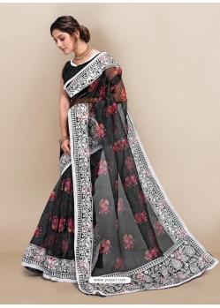 Black Premium Organza With Digital Printed And Embroidered Sari