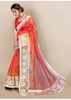 Red Premium Organza With Digital Printed And Embroidered Sari