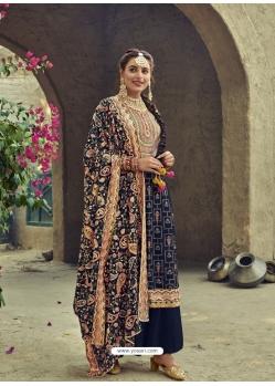 Navy Blue Designer Faux Georgette Party Wear Palazzo Salwar Suit