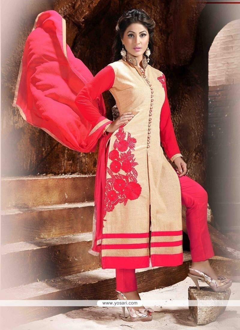bd9d9e6738 Shop online Hina Khan Chanderi Designer Straight Salwar Kameez