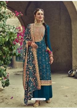 Teal Blue Designer Faux Georgette Party Wear Palazzo Salwar Suit
