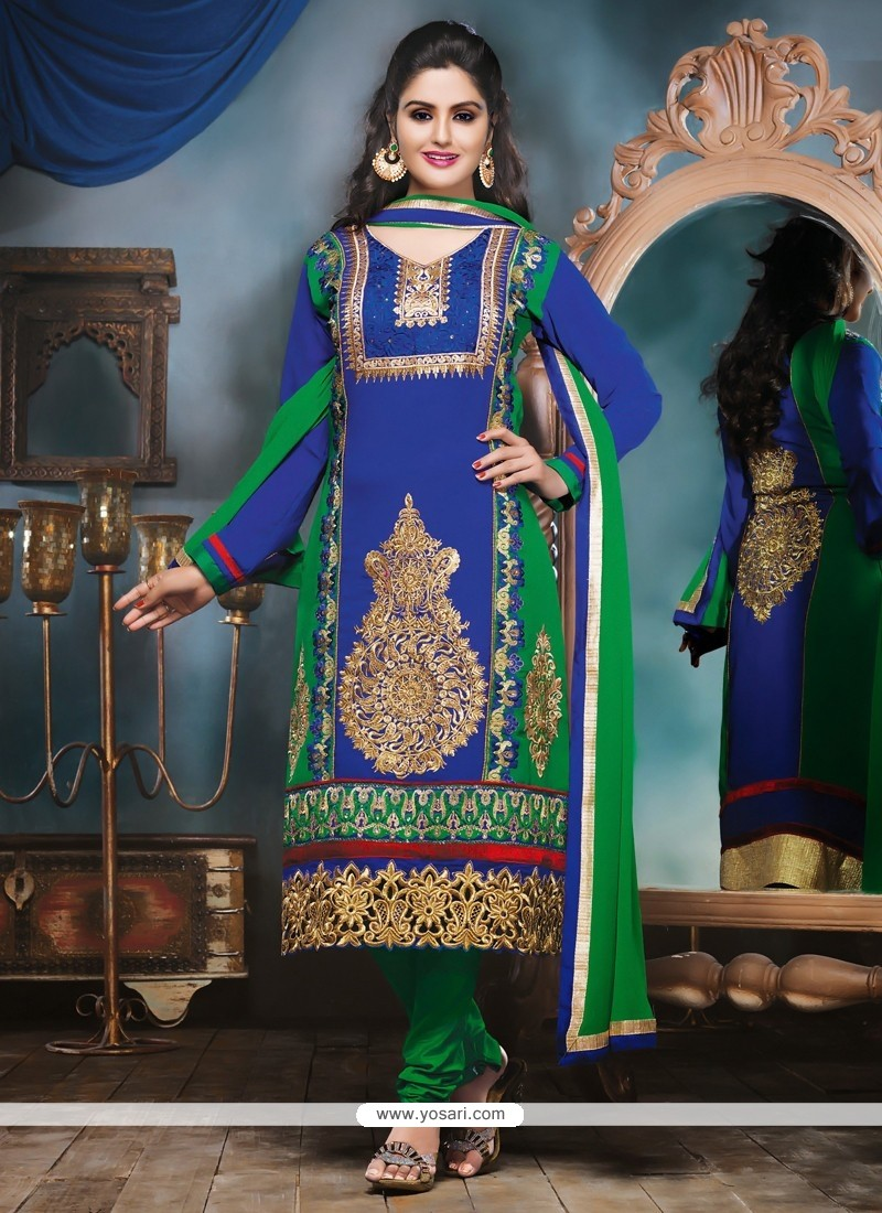 Blue And Green Shaded Georgette Churidar Suit