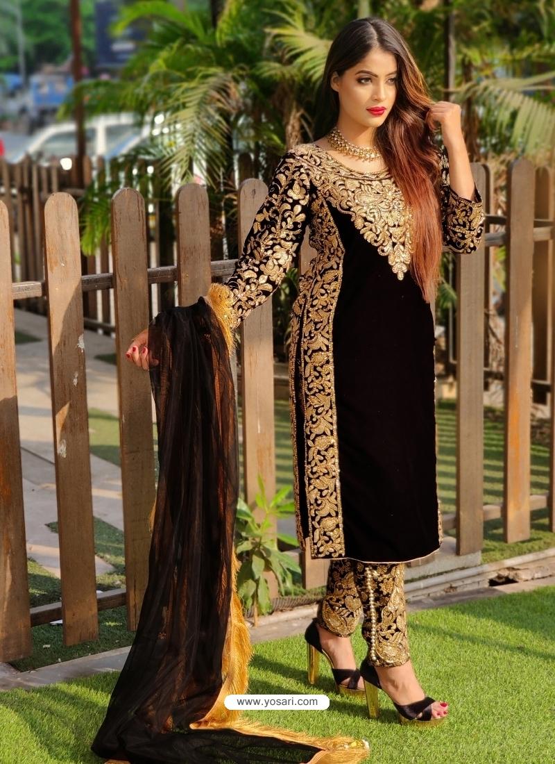 Black Designer Party Wear Velvet Pakistani Suit