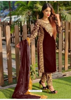 Coffee Designer Party Wear Velvet Pakistani Suit