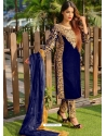 Dark Blue Designer Party Wear Velvet Pakistani Suit