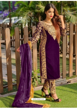 Purple Designer Party Wear Velvet Pakistani Suit