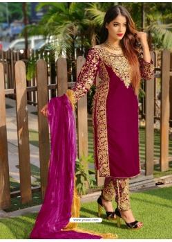 Deep Wine Designer Party Wear Velvet Pakistani Suit