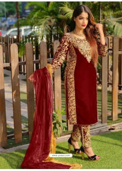 Maroon Designer Party Wear Velvet Pakistani Suit