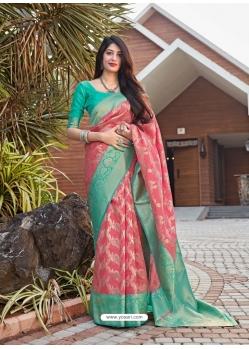 Light Red Designer Party Wear Malashree Silk Sari