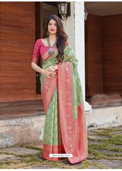 Sea Green Designer Party Wear Malashree Silk Sari