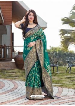 Aqua Mint Designer Party Wear Malashree Silk Sari