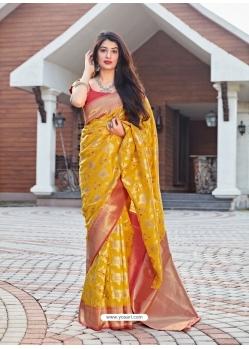 Yellow Designer Party Wear Malashree Silk Sari