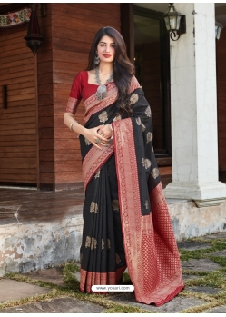 Black Designer Party Wear Malashree Silk Sari