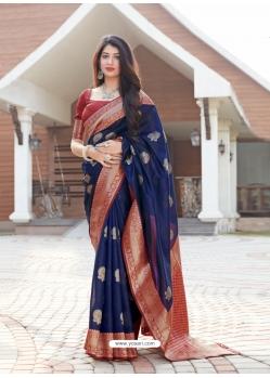 Navy Blue Designer Party Wear Malashree Silk Sari