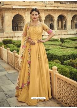 Yellow Designer Party Wear Anarkali Suit