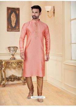 Peach Exclusive Readymade Designer Kurta Pajama