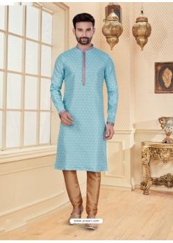 Sky Blue Exclusive Readymade Designer Kurta Pajama