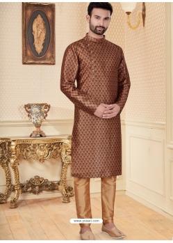 Brown Exclusive Readymade Designer Kurta Pajama