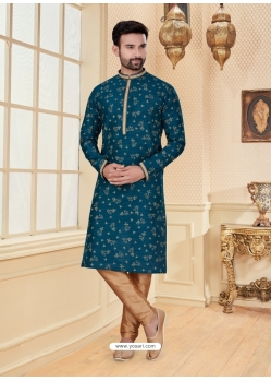 Teal Blue Exclusive Readymade Designer Kurta Pajama