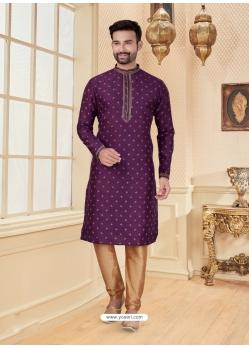 Purple Exclusive Readymade Designer Kurta Pajama