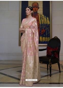 Baby Pink Designer Classic Wear Pure Modal Handloom Weaving Sari