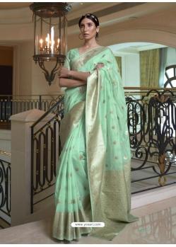 Sea Green Designer Classic Wear Pure Modal Handloom Weaving Sari