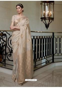 Gold Designer Classic Wear Pure Modal Handloom Weaving Sari