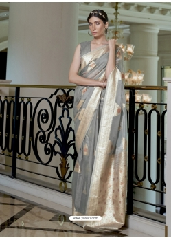 Grey Designer Classic Wear Pure Modal Handloom Weaving Sari