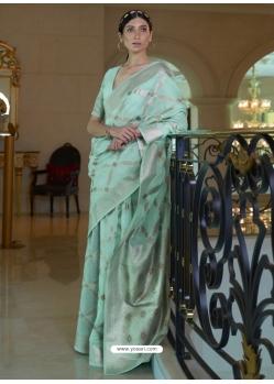 Sky Blue Designer Classic Wear Pure Modal Handloom Weaving Sari