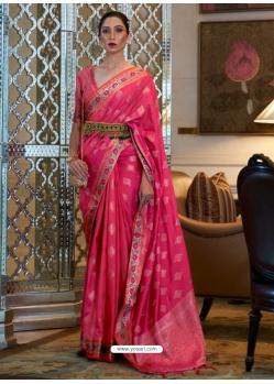 Fuchsia Designer Classic Wear Sana Silk Nylon Sari