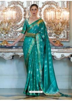 Aqua Mint Designer Classic Wear Sana Silk Nylon Sari