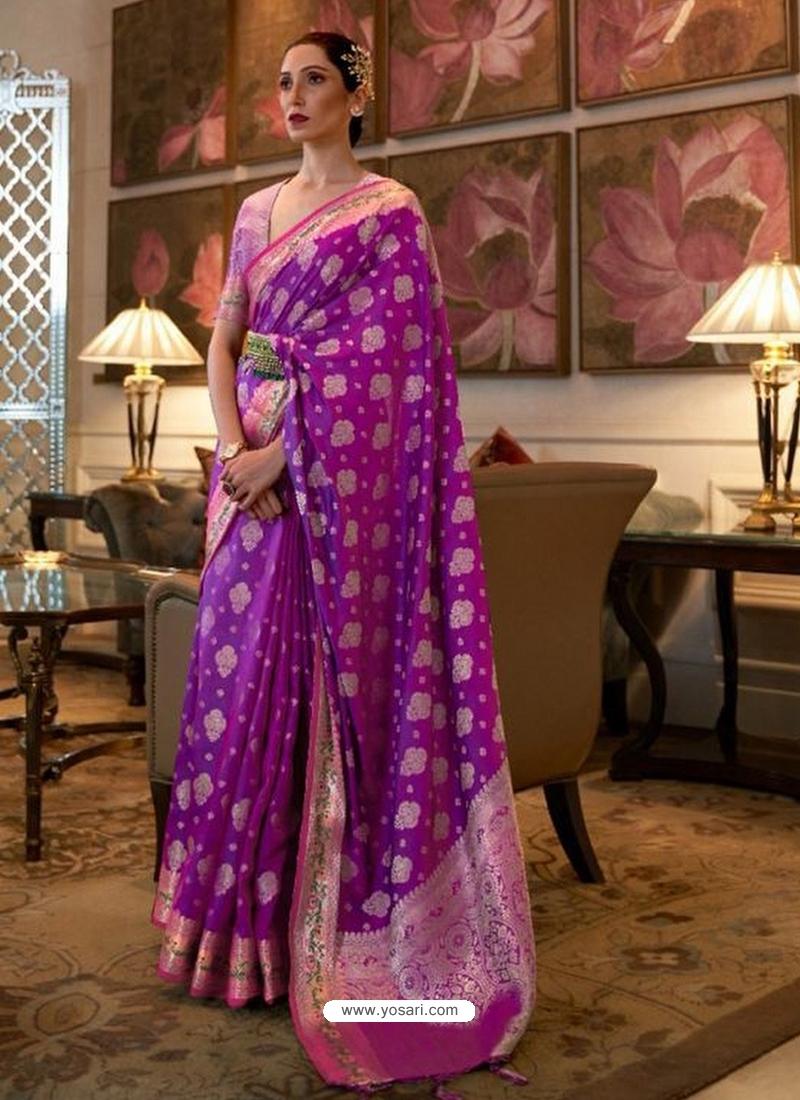 Purple Designer Classic Wear Sana Silk Nylon Sari