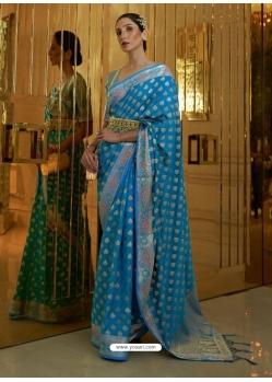 Blue Designer Classic Wear Sana Silk Nylon Sari