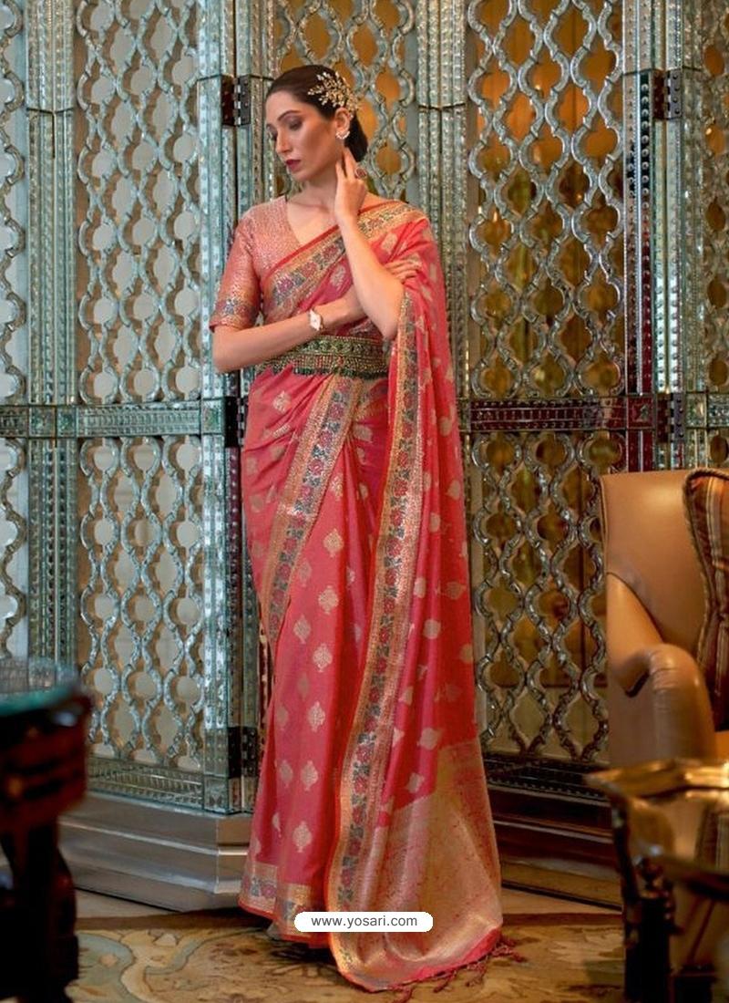 Light Red Designer Classic Wear Sana Silk Nylon Sari