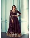 Purple Designer Party Wear Real Georgette Aanarkali Suit