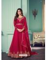 Rose Red Designer Party Wear Real Georgette Aanarkali Suit