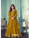 Marigold Designer Party Wear Real Georgette Aanarkali Suit