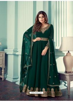 Dark Green Designer Party Wear Real Georgette Aanarkali Suit