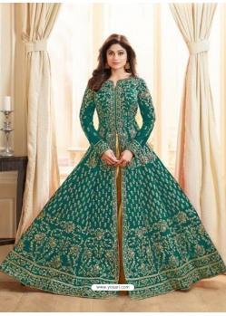 Teal Latest Designer Mulberry Silk Indo Western Suit
