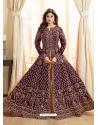 Purple Latest Designer Mulberry Silk Indo Western Suit