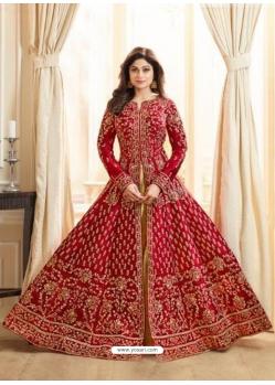 Red Latest Designer Mulberry Silk Indo Western Suit
