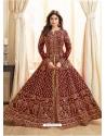 Maroon Latest Designer Mulberry Silk Indo Western Suit